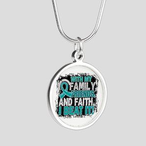Ovarian Cancer Survivor Fami Silver Round Necklace