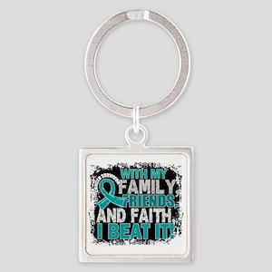 Ovarian Cancer Survivor FamilyFrie Square Keychain