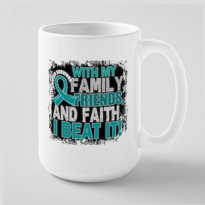 Ovarian Cancer Survivor FamilyFriendsFa Large Mug