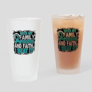 Ovarian Cancer Survivor FamilyFrien Drinking Glass