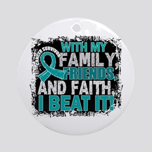 Ovarian Cancer Survivor FamilyFri Ornament (Round)