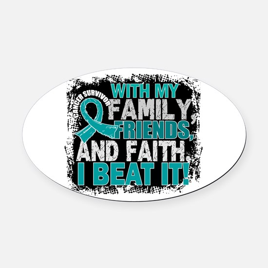 Ovarian Cancer Survivor FamilyFrie Oval Car Magnet