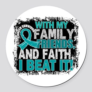 Ovarian Cancer Survivor FamilyFri Round Car Magnet
