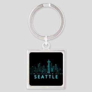 Digital Cityscape: Seattle, Washin Square Keychain