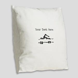 Distressed Swimmer (Custom) Burlap Throw Pillow