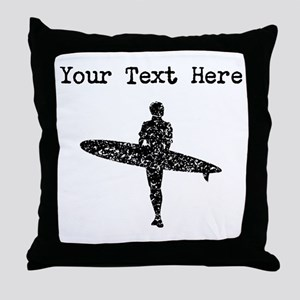 Distressed Surfer Silhouette (Custom) Throw Pillow
