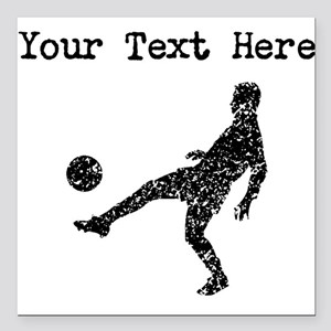 Distressed Soccer Player Silhouette (Custom) Squar