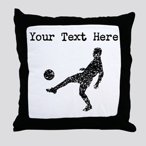 Distressed Soccer Player Silhouette (Custom) Throw