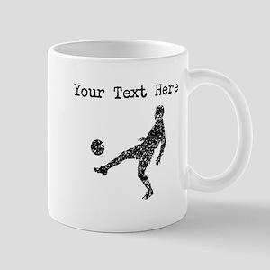 Distressed Soccer Player Silhouette (Custom) Mugs
