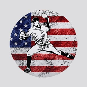 Baseball Player On American Flag Ornament (Round)