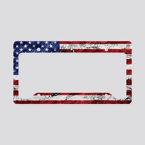 Baseball Player On American Flag License Plate Hol