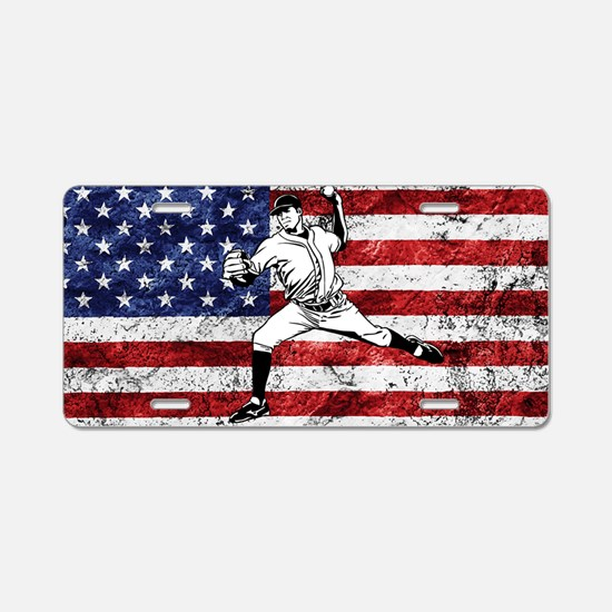 Baseball Player On American Flag Aluminum License