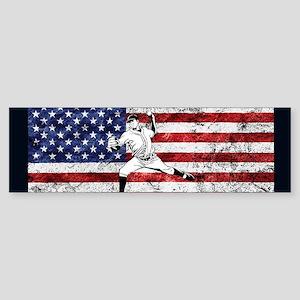 Baseball Player On American Flag Bumper Sticker