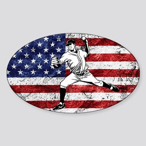 Baseball Player On American Flag Sticker