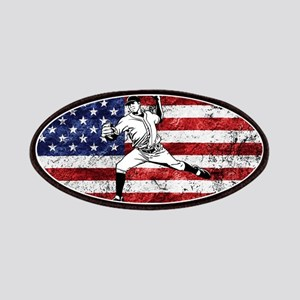 Baseball Player On American Flag Patch