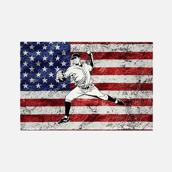 Baseball Player On American Flag Magnets