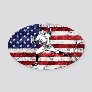 Baseball Player On American Flag Oval Car Magnet