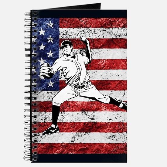 Baseball Player On American Flag Journal