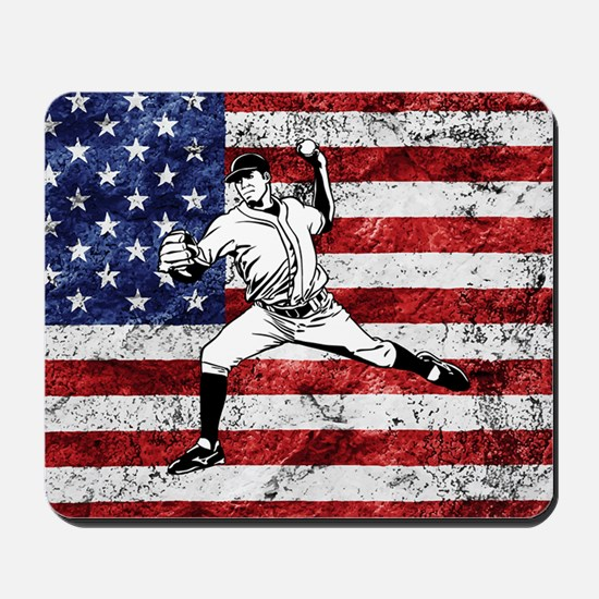 Baseball Player On American Flag Mousepad