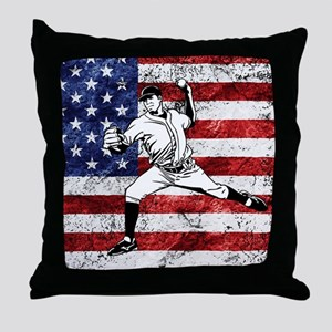 Baseball Player On American Flag Throw Pillow