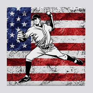 Baseball Player On American Flag Tile Coaster