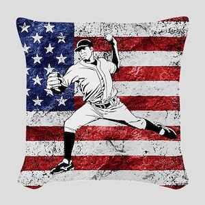 Baseball Player On American Flag Woven Throw Pillo