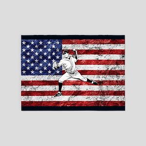 Baseball Player On American Flag 5'x7'Area Rug