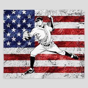 Baseball Player On American Flag King Duvet
