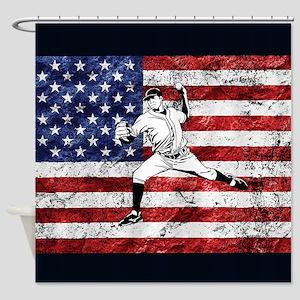 Baseball Player On American Flag Shower Curtain