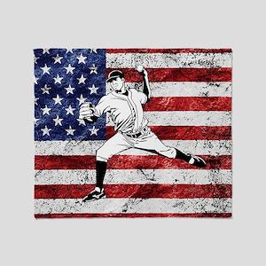 Baseball Player On American Flag Throw Blanket