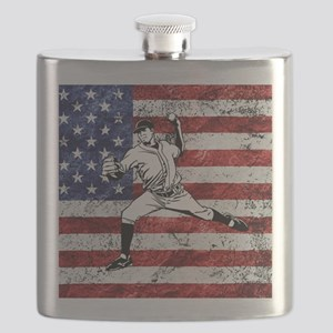 Baseball Player On American Flag Flask