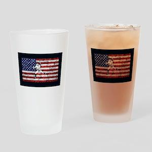 Baseball Player On American Flag Drinking Glass