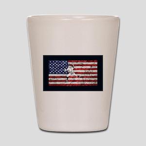 Baseball Player On American Flag Shot Glass