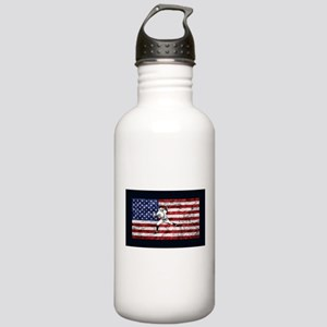 Baseball Player On American Flag Water Bottle