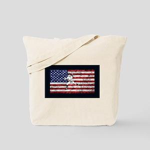 Baseball Player On American Flag Tote Bag