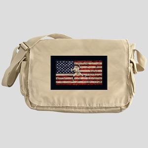 Baseball Player On American Flag Messenger Bag