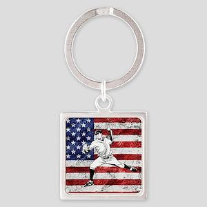Baseball Player On American Flag Keychains