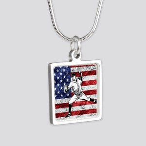 Baseball Player On American Flag Necklaces