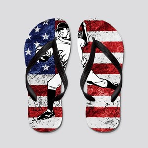 Baseball Player On American Flag Flip Flops