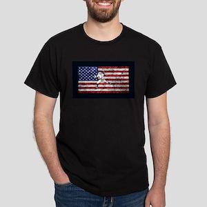 Baseball Player On American Flag T-Shirt