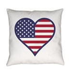 American Flag Heart Everyday Pillow
