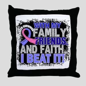 Male Breast Cancer Survivor FamilyFri Throw Pillow
