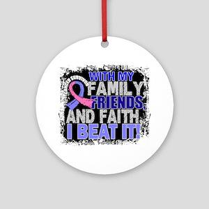 Male Breast Cancer Survivor Famil Ornament (Round)