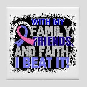 Male Breast Cancer Survivor FamilyFri Tile Coaster