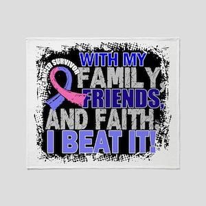 Male Breast Cancer Survivor FamilyFr Throw Blanket