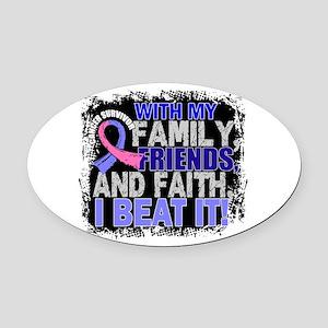 Male Breast Cancer Survivor Family Oval Car Magnet
