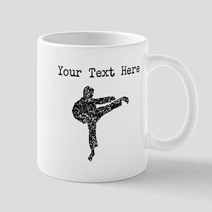 Distressed Karate Kick Silhouette (Custom) Mugs