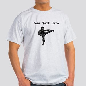 Distressed Karate Kick Silhouette (Custom) T-Shirt