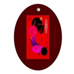 Red in Orbit Oval Ornament