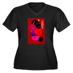 Red in Orbit Women's Plus Size V-Neck Dark T-Shirt